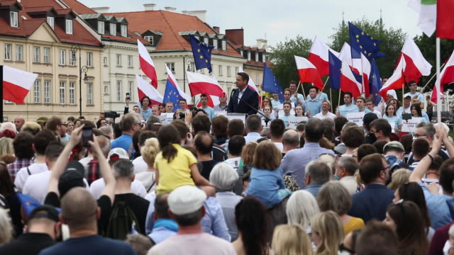 rafal trzaskowski presidential candidate for the civil platform and mayor of warsaw during an election campaign rally the vote the first of two... - polen stock-videos und b-roll-filmmaterial