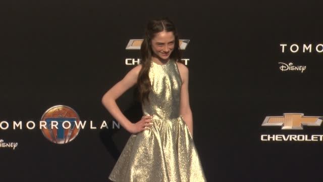 raffey cassidy at the tomorrowland los angeles premiere at amc downtown disney 12 theater on may 09 2015 in anaheim california - anaheim california stock videos and b-roll footage