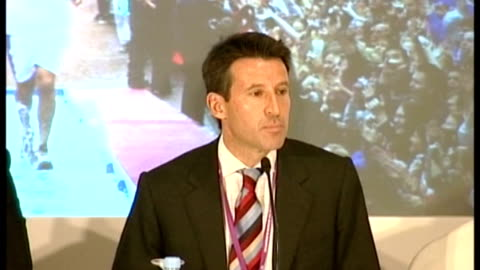 raffles hotel: int lord coe press conference sot - the legacy is profound in two key areas - have to provide facilities for young people/ no games... - raffles city stock videos & royalty-free footage