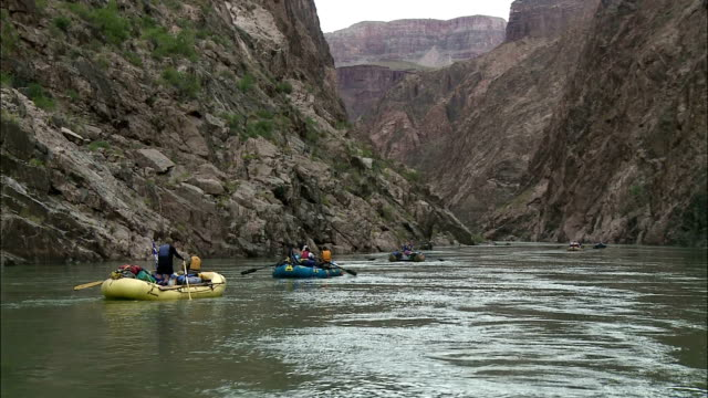 rafters at the grand canyon paddle down the colorado river. - rafting stock videos and b-roll footage