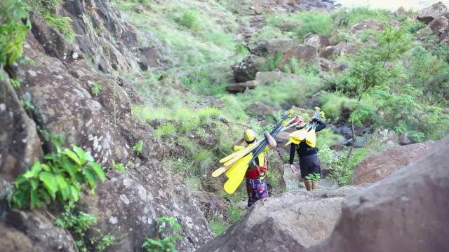 ws rafters caring oar at nice path , beautiful nature / foz do iguacu, parana, brazil - brasile meridionale video stock e b–roll