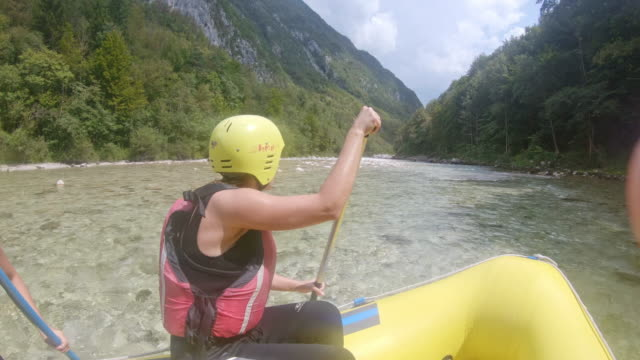 pov rafters rafting on the rapids of the river - dinghy stock videos & royalty-free footage