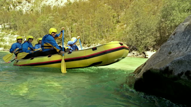 HD: Rafters Running The Raft On A Rock