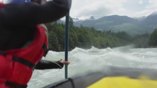 ms pov rafting down river / squamish, british columbia, canada - rafting stock videos & royalty-free footage
