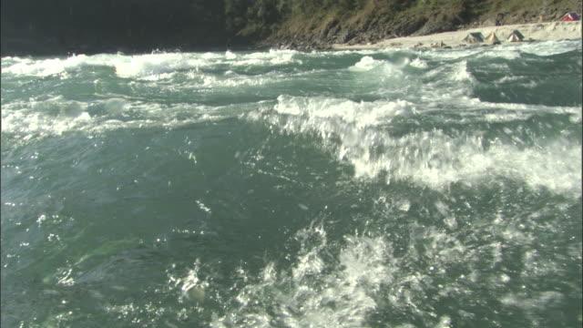 vídeos de stock, filmes e b-roll de rafting down river, water splashes over camera, rishikesh, india available in hd. - rishikesh