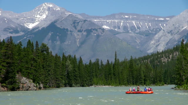 vídeos de stock, filmes e b-roll de ms rafting on bow river / banff, alberta, canada - alberta