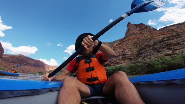 pov  rafting with kayak in colorado river, moab - rapid stock videos & royalty-free footage