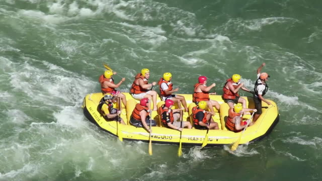 WS PAN Rafting with rubber boat at Cataratas do Iguacu / Foz do Iguacu, Parana, Brazil