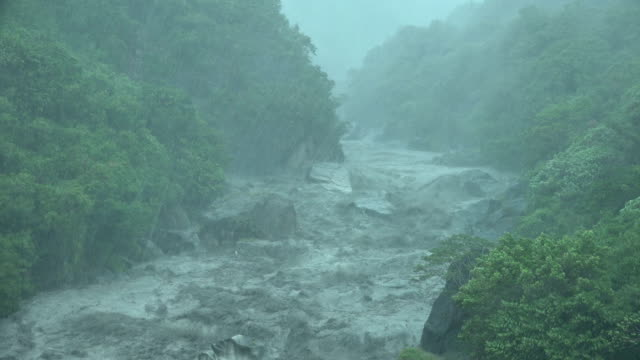 raging river and torrential rain as tropical storm bailu hits taiwan in august 2019 - tropical climate stock videos & royalty-free footage