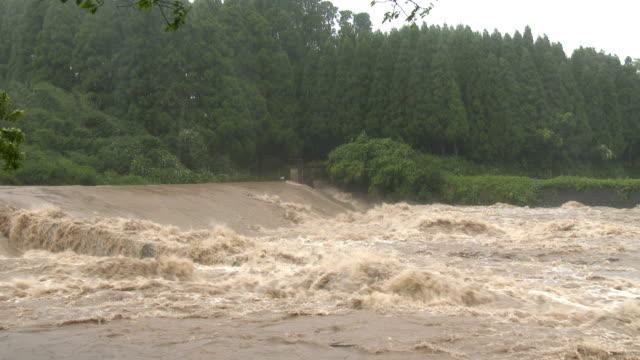 A raging river with rapids after typhoon Noru dumps huge amount of rain on Japan