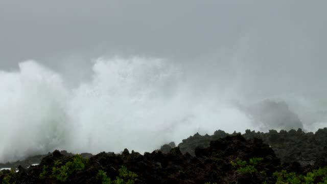 raging storm huge waves lash cliffs in hurricane - tropical storm stock videos & royalty-free footage