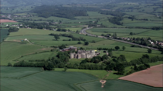 raglan castle  - aerial view - wales,  monmouthshire,  helicopter filming,  aerial video,  cineflex,  establishing shot,  united kingdom - pembrokeshire stock videos and b-roll footage