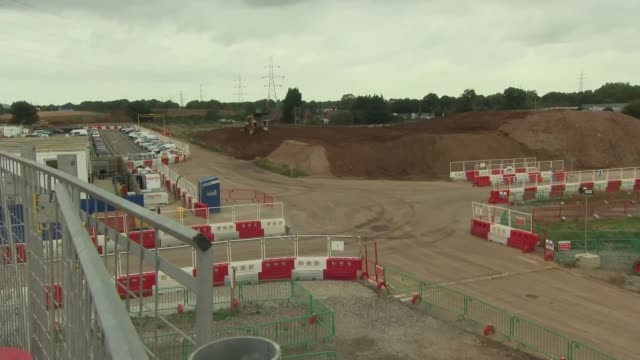 boris johnson visits hs2 construction site in solihull england west midlands solihull ext various gvs of hs2 construction site including mechanical... - measuring stock videos & royalty-free footage