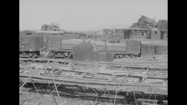 rail cars and rail yard in south korea damaged during the korean war - 1951 stock videos & royalty-free footage