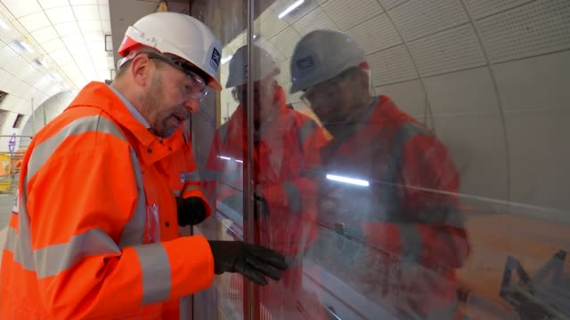 crossrail boss does not know when line will open uk london crossrail construction work at liverpool street station / mark wild interview england... - クロスレール路線点の映像素材/bロール