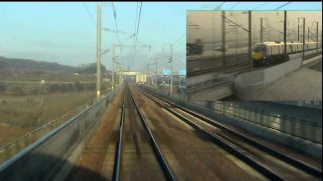 development of javelin train services ahead of schedule; england: kent: ext driver's point of view shots from high speed javelin train along rail... - javelin stock videos & royalty-free footage