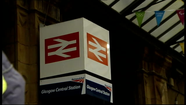 rail fares set to rise by average of 62 per cent scotland glasgow glasgow central station ext sign outside glasgow central station man handing out... - cent sign stock videos & royalty-free footage