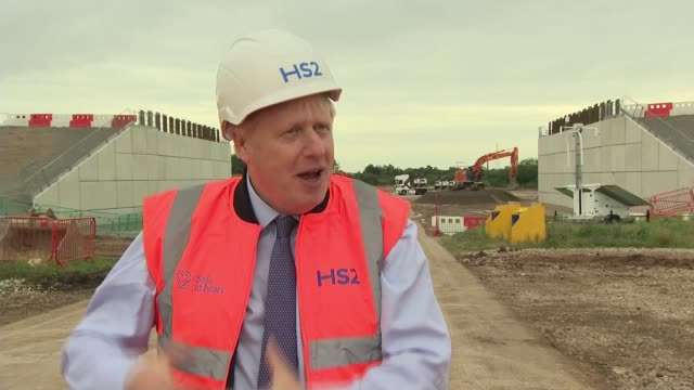 first official day of work on hs2 construction; england: west midlands: solihull: ext boris johnson along during visit to hs2 construction sight... - on the move stock videos & royalty-free footage