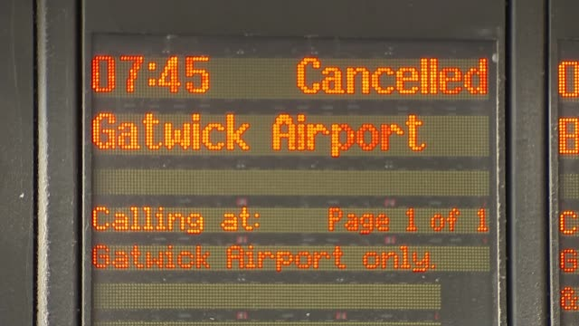 Gibb report on Southern Rail network published T08081662 / TX London Victoria Departure board with Gatwick Aiport train cancellation Departure board...
