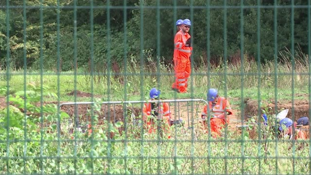 Government announces review of HS2 ENGLAND Uxbridge Harefield EXT Ron Ryall interview SOT Various shots of construction workers at HS2 site Various...