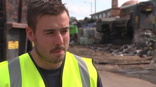 Government announces review of HS2 ENGLAND West Midlands Birmingham EXT General views scrap metal recycling plant Richard Taroni interview SOT...