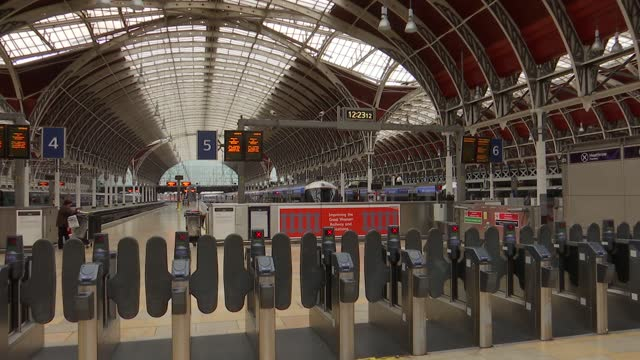 great western railway train services cancelled after cracks found in trains; england: london: paddington station: int various of gwr station staff... - rail transportation stock videos & royalty-free footage