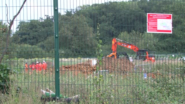 harefield hs2 site gvs england london harefield various general views of construction site for harefield southall gas pipeline diversion project to... - construction site stock videos & royalty-free footage