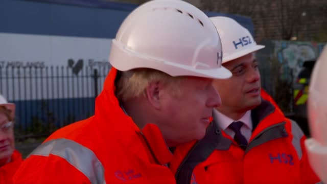 hs2 boris johnson construction site visit and interview england birmingham ext gvs boris johnson mp and sajid javid mp touring construction site / - construction site stock videos & royalty-free footage