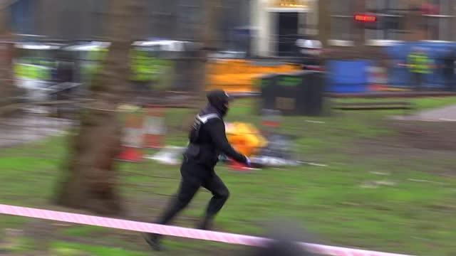 tunnel protests: bailiffs start to remove euston protesters; england: london: euston station: euston square gardens: ext various of anti-hs2... - shack stock videos & royalty-free footage