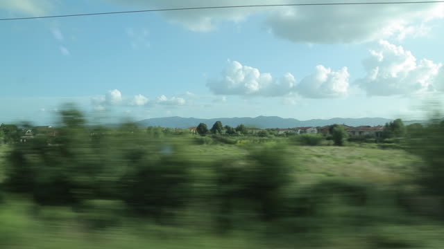 rail journey from lucca to florence, tuscany, italy, europe - zugperspektive stock-videos und b-roll-filmmaterial