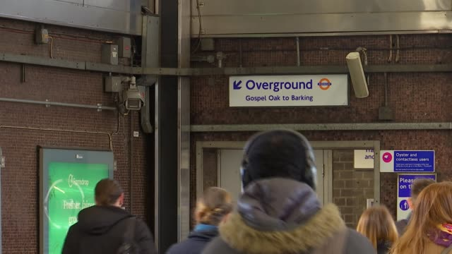 london overground trains and blackhorse road station gvs; england: london: blackhorse road station: int various of rail and underground passengers... - mollusc stock videos & royalty-free footage