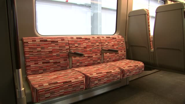 new crossrail trains unveiled derby mike brown interview sot cutaways various of train carriage interiors point of view of train driver as train... - クロスレール路線点の映像素材/bロール