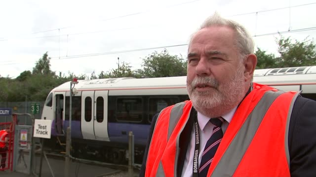 New Crossrail trains unveiled EXT Peter Doolin interview SOT Various of CrossRail train along Various of train carriage interior