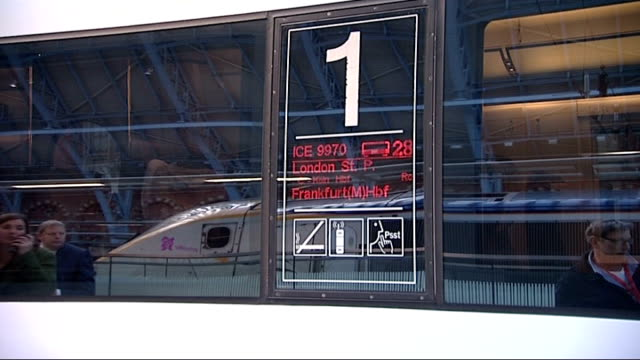 plans for Channel Tunnel link to Germany announced ENGLAND London St Pancras EXT Deutsche Bahn high speed 'Ice train' at platform Sign advertising...