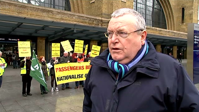 protest against privatisation of east coat main line franchise; steve smart interview sot - franchising stock videos & royalty-free footage
