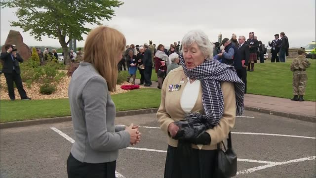 quintinshill rail disaster remembered 100 years on susan hughes stands talking with reporter - itvイブニングニュース点の映像素材/bロール