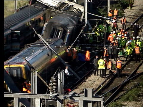 automatic train protection system government attacked lib england london paddington rescue workers next to wreckage after paddington train crash... - train crash stock videos & royalty-free footage