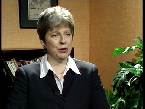 rail strike action/government plans itn theresa may mp interview sot it's a sign of desperation / vote of no confidence in stephen byers ext la gv... - theresa may stock-videos und b-roll-filmmaterial