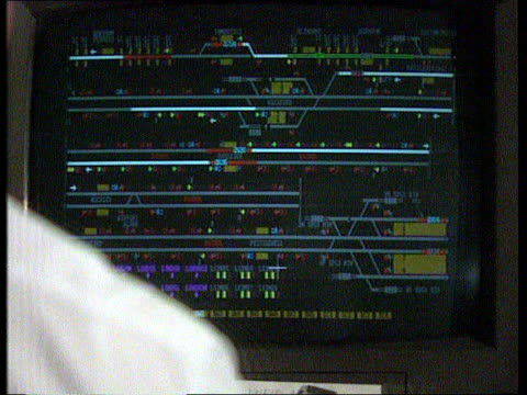 "rail strike; ? bv supervisor works in computerized signal box screens shows signal points cms supervisor's hand rolls ""mouse"" bv supervisor operates... - signal box stock videos & royalty-free footage"