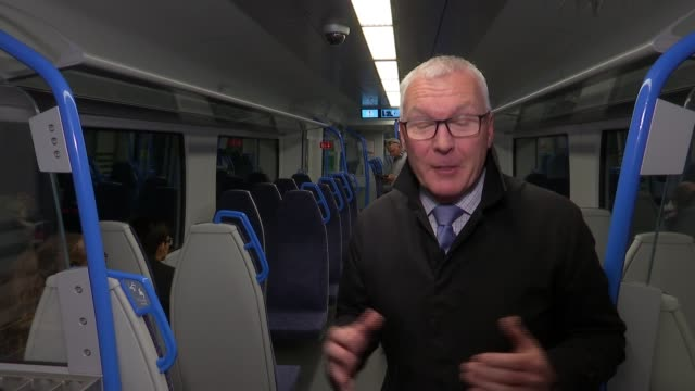 thousands sign petition demanding govia thameslink be stripped of its rail franchise england london int people along past train on platform reporter... - raphaël haroche stock videos and b-roll footage