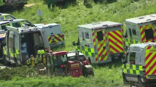 three people die as train derails near stonehaven scotland aberdeenshire stonehaven ext helicopter flying along to land as grey cloud of smoke rising... - thick stock videos & royalty-free footage