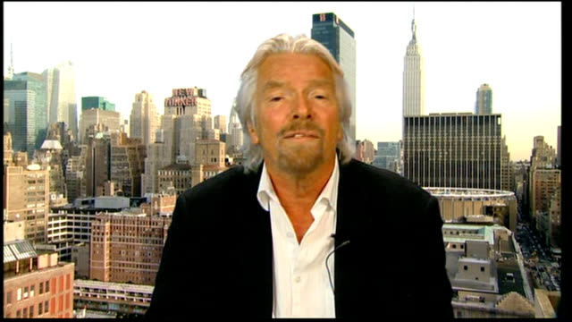 virgin re-awarded west coast mailine franchise on a temporary basis; usa: new york: manhattan: int sir richard branson 2 way interview from new york... - temporary stock videos & royalty-free footage