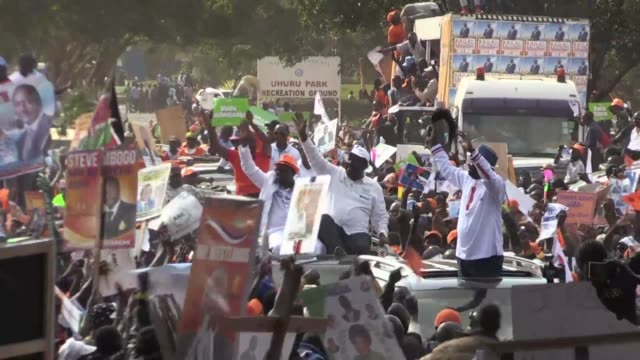 raila odinga kenya's veteran opposition leader and one time prime minister is taking his fourth tilt at the presidency in next week's election - raila odinga stock videos and b-roll footage