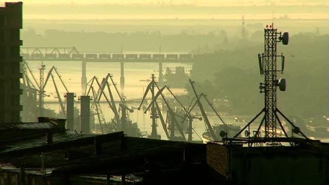 Railroad bridge over the port