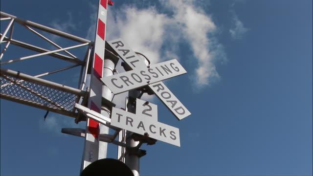 ZI, CU, LA, railroad crossing sign against sky