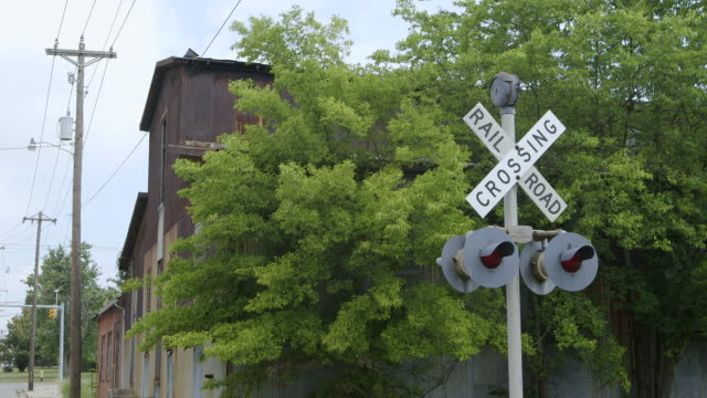WS Railroad crossing sign with trees in background / Bell Buckle, Tennessee, United States