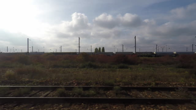 railroad rail seen from the train - île de france stock-videos und b-roll-filmmaterial