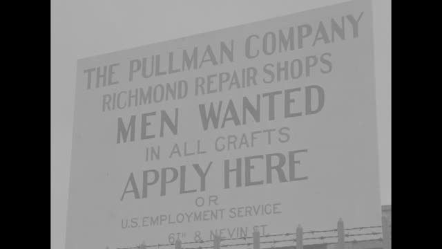 'The Pullman Company Richmond Repair Shops Men Wanted in all crafts apply here' / VS repairmen grouped around locomotive under repair men atop boiler...