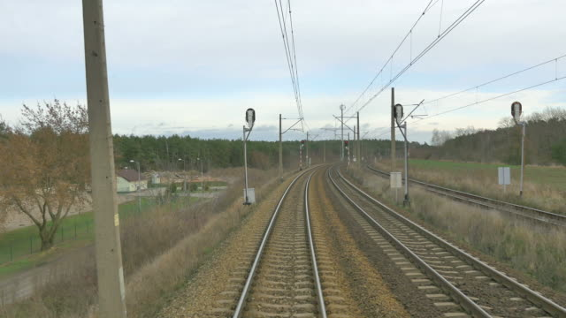 railroad track in 4k - railway track stock videos & royalty-free footage
