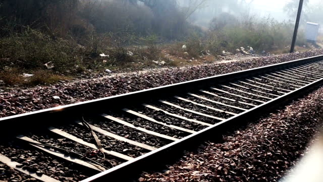 railroad track perspective view - railway track stock videos & royalty-free footage